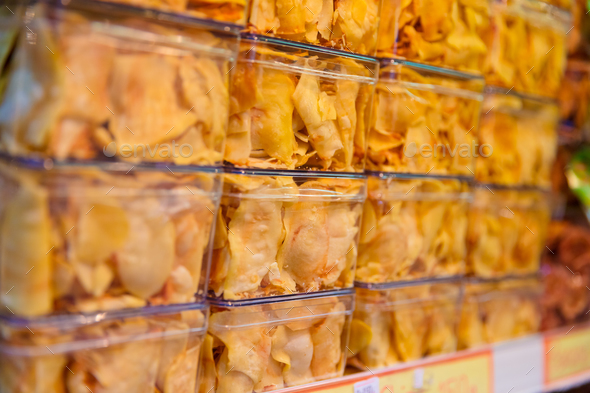 Fried Snacks Displayed At Shop - Stock Photo - Images