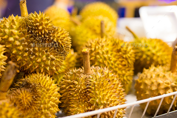 Fresh Durian Fruits For Sale On Market Stall - Stock Photo - Images