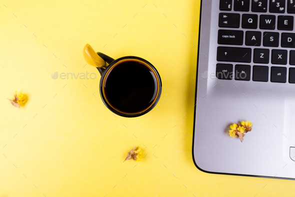 Notebook, coffee and flowers for female - Stock Photo - Images
