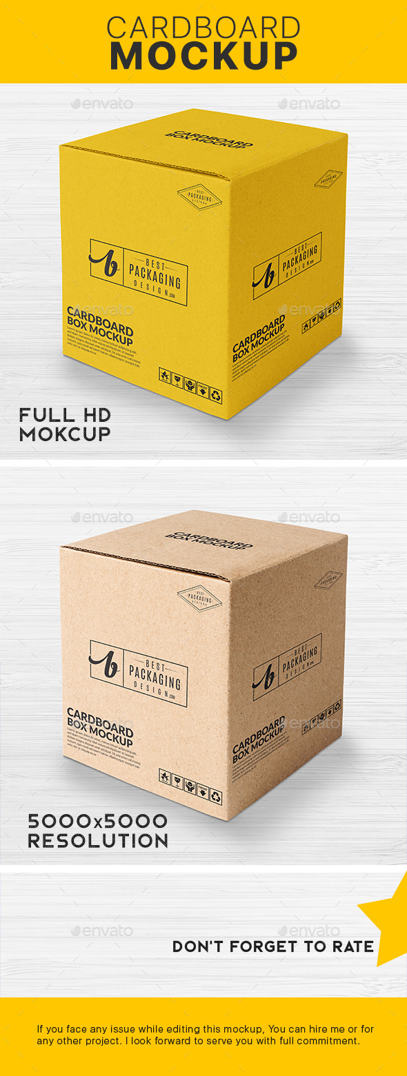 GraphicRiver Square Card Board Box Mockup 21190661