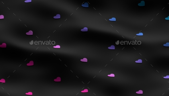 Abstract 3D Rendering of Heart Shapes - 3D Backgrounds