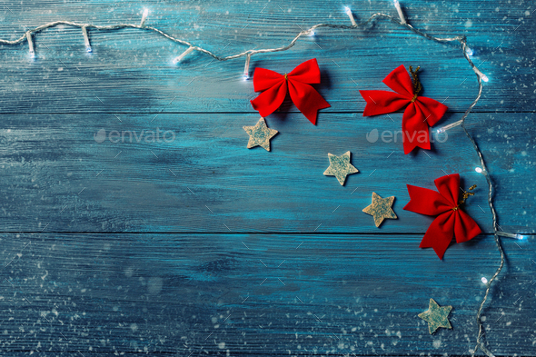 Blue wooden background and Christmas decorations. - Stock Photo - Images