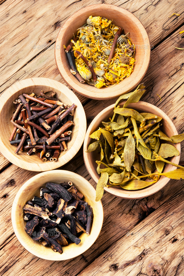 desiccated medicinal herbs - Stock Photo - Images