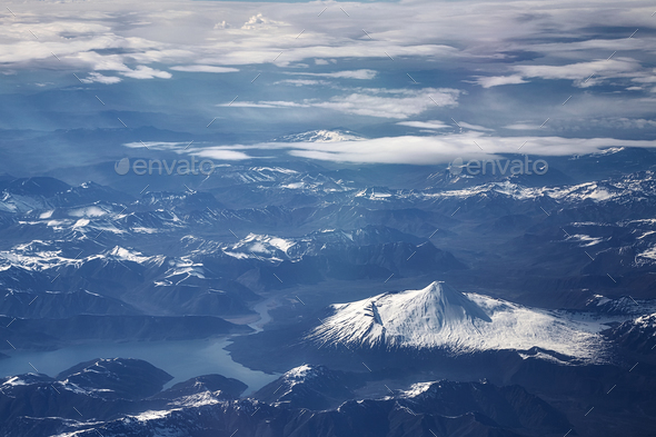 Aerial picture of the Andes mountain range, Chile - Stock Photo - Images
