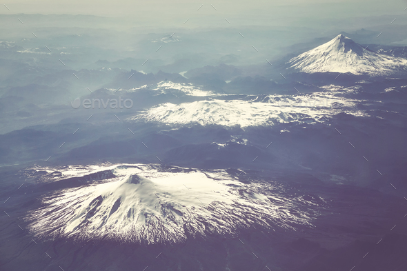 Aerial picture of the Andes mountain range, Chile. - Stock Photo - Images