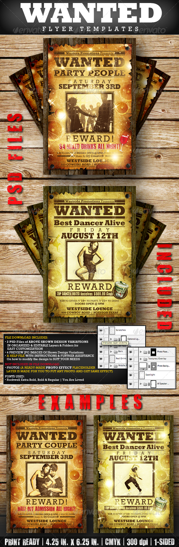 WANTED Flyer Templates - Clubs & Parties Events