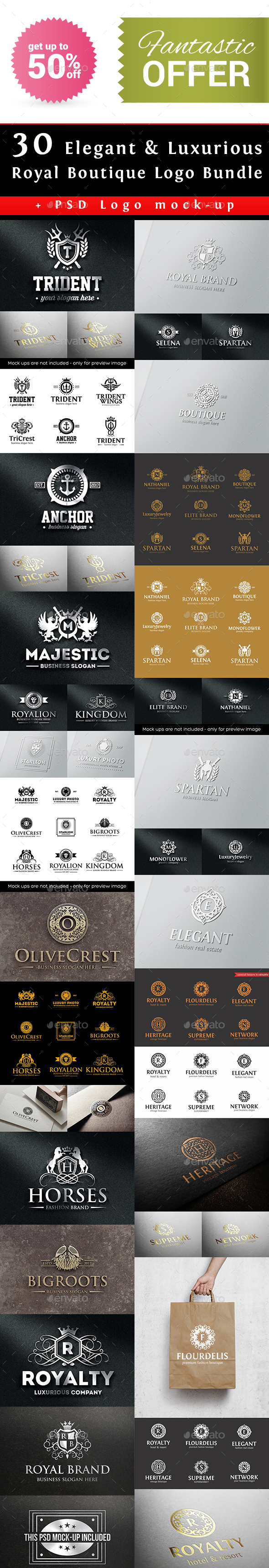 Elegant Luxurious Royal Boutique Logo Bundle - Badges & Stickers Web Elements