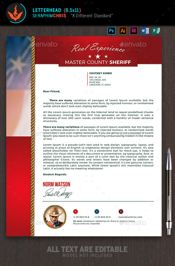 sheriff race political letterhead template stationery print templates
