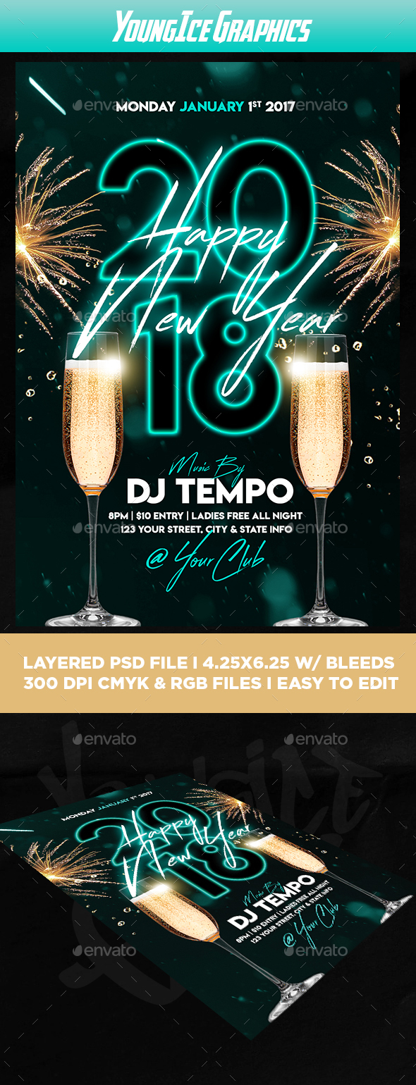 Happy New Year Flyer Template - Clubs & Parties Events