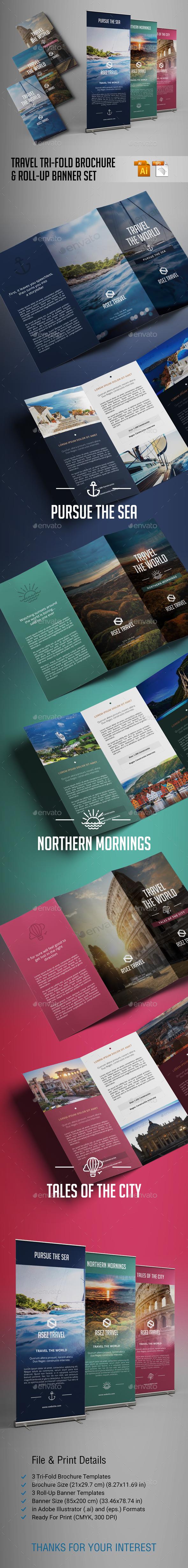 Travel Brochure and Banner Set - Brochures Print Templates