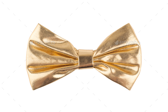 golden bow tie on white background - Stock Photo - Images