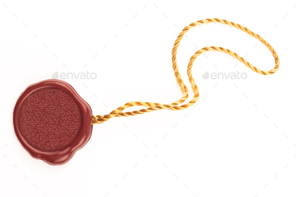 red wax blank seal swing tag - Stock Photo - Images