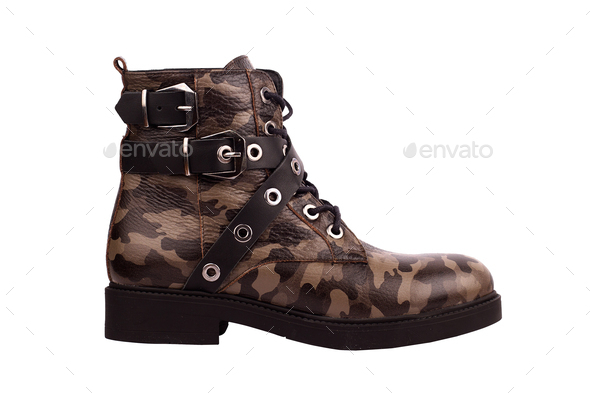 woman boots with army brown texture - Stock Photo - Images