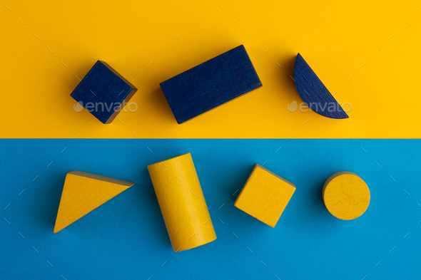 abstract square color composition with wood blocks - Stock Photo - Images