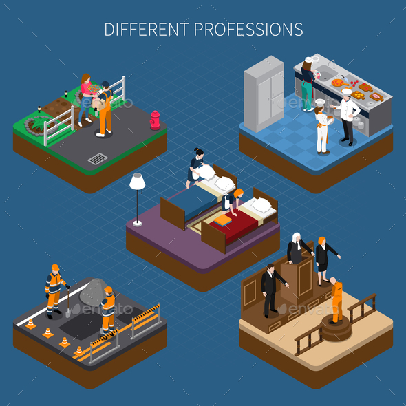 GraphicRiver Professions Uniform Isometric Composition 21203483