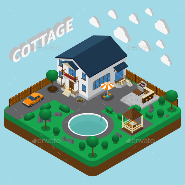 GraphicRiver Vacation Home Isometric Composition 21203484
