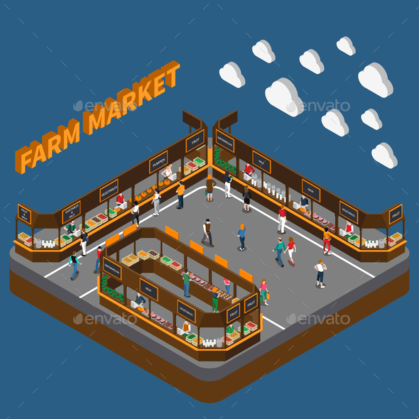 GraphicRiver Bazaar Farm Market Composition 21203485