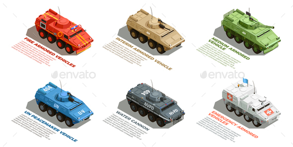 GraphicRiver Army Military Vehicles Isometric Set 21203489