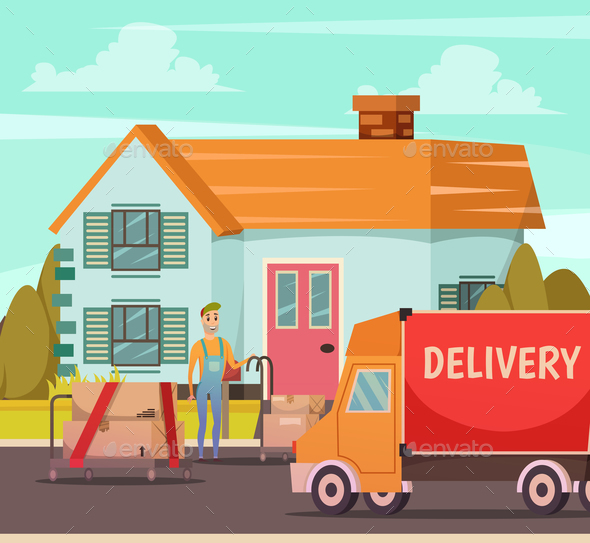 Courier Delivery Service Orthogonal Composition - Buildings Objects