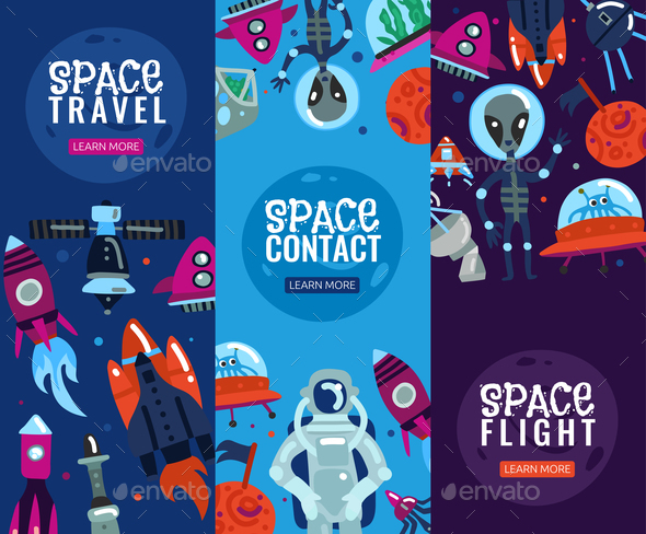 Space Travel Vertical Banners - Miscellaneous Vectors