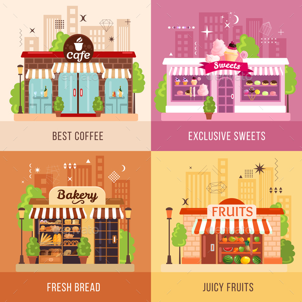 Stores Facades 2x2 Design Concept - Food Objects