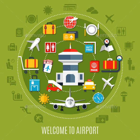 GraphicRiver Airport Service Flat Advertisement Poster 21203506