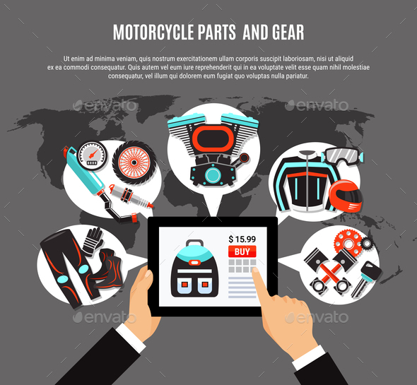 Online Shopping Of Motorcycle Parts - Miscellaneous Vectors