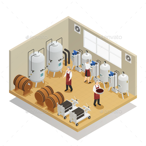 GraphicRiver Alcoholic Beverages Production Isometric Composition 21203513