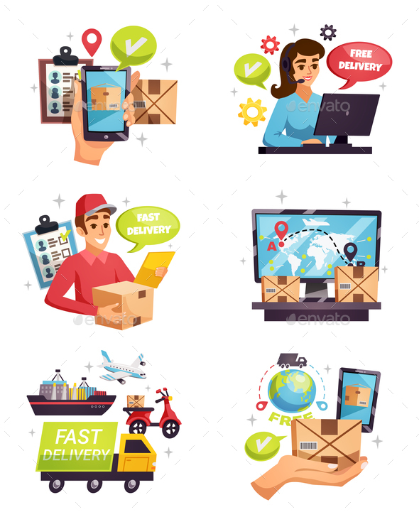 GraphicRiver Courier Delivery Compositions Icons Set 21203515