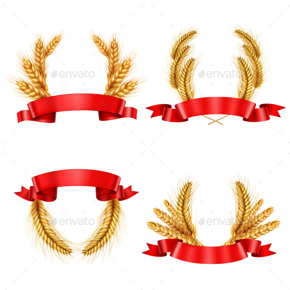 GraphicRiver Realistic Spikelet Wreaths With Ribbons 21203519