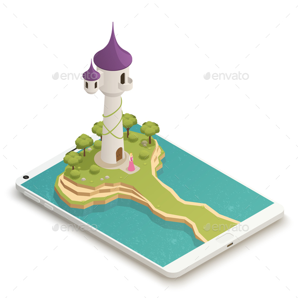 GraphicRiver Fairy Tale Smartphone Isometric Composition 21203523