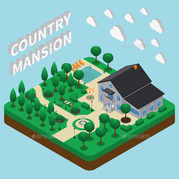 GraphicRiver Country Mansion Isometric Composition 21203524