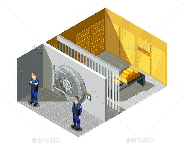 GraphicRiver Bank Gold Vault Isometric Composition 21203528