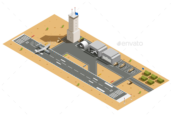 GraphicRiver Military Air Base Isometric Composition 21203529