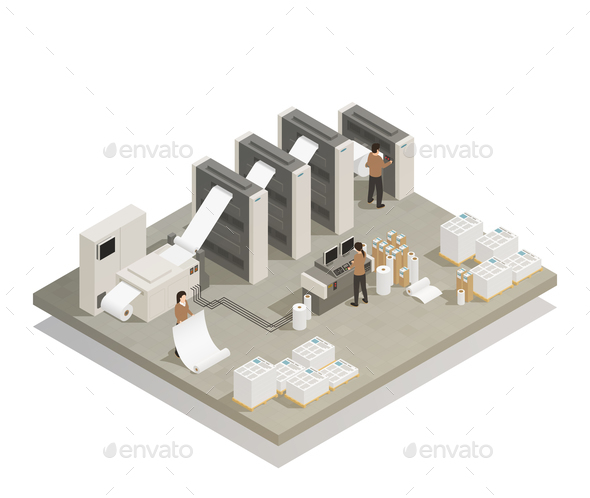 GraphicRiver Printing Production Process Isometric Composition 21203543