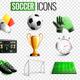 Soccer Icons Transparent Background Set
