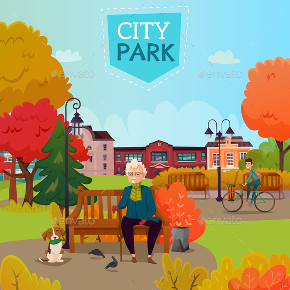 GraphicRiver City Park Illustration 21203549