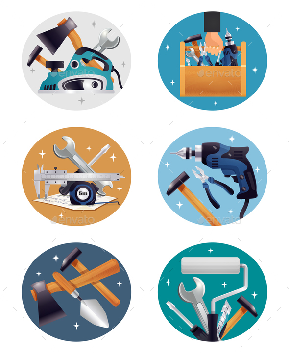 GraphicRiver Carpenter Tools Realistic Compositions Icons 21203551