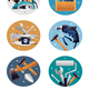 Carpenter Tools Realistic Compositions Icons