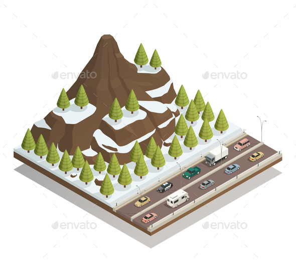 GraphicRiver Winter Mountains Landscape Isometric composition 21203554