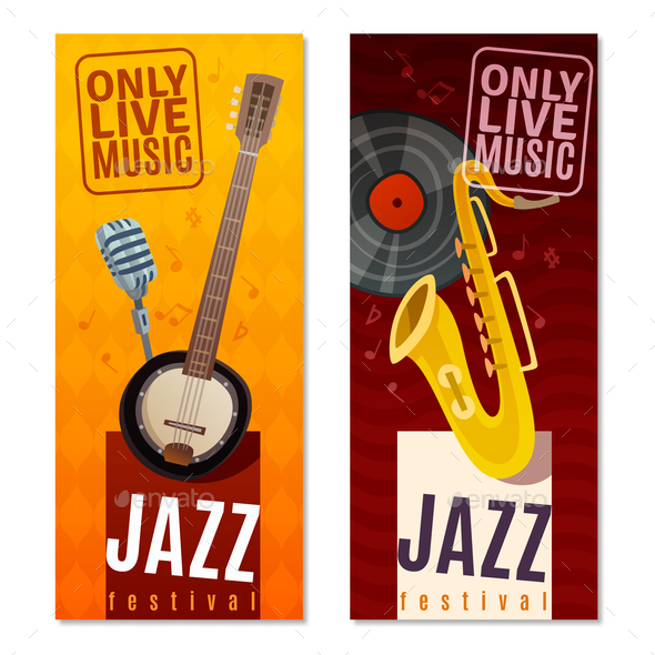 Jazz Festival Vertical Banners - Seasons/Holidays Conceptual