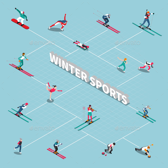 Winter Sportsmen Isometric Flowchart - Sports/Activity Conceptual