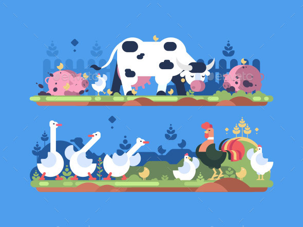 GraphicRiver Animals on Farm 21203704