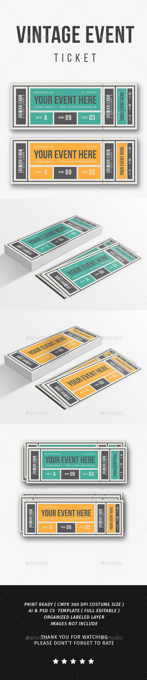 GraphicRiver Vintage Event Ticket Vol.2 21196058