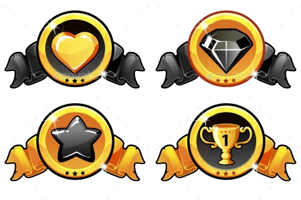 GraphicRiver Gold and Black Icon Design for Game UI Vector 21203828