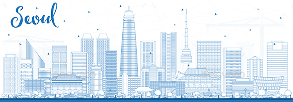 GraphicRiver Outline Seoul Korea Skyline with Blue Buildings 21203843