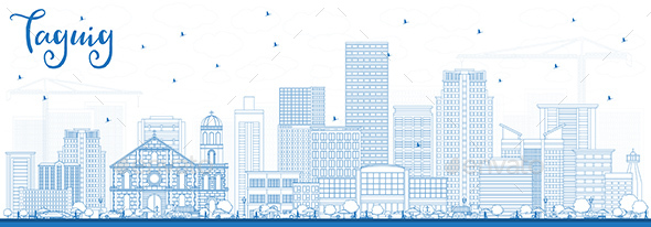 GraphicRiver Outline Taguig Philippines Skyline with Blue Buildings 21203848