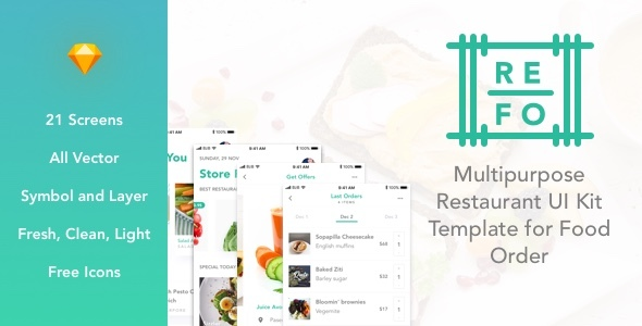 ThemeForest REFO Multipurpose Restaurant UI Kit Template for Food Order 21129633