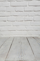 Old white brick wall and wood floor background - PhotoDune Item for Sale