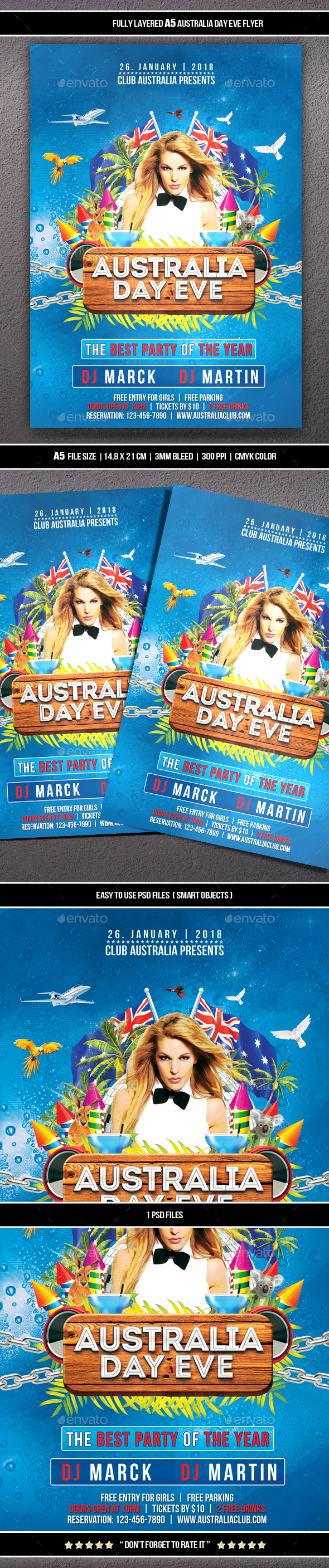 GraphicRiver Australian Day Eve Flyer 21189246